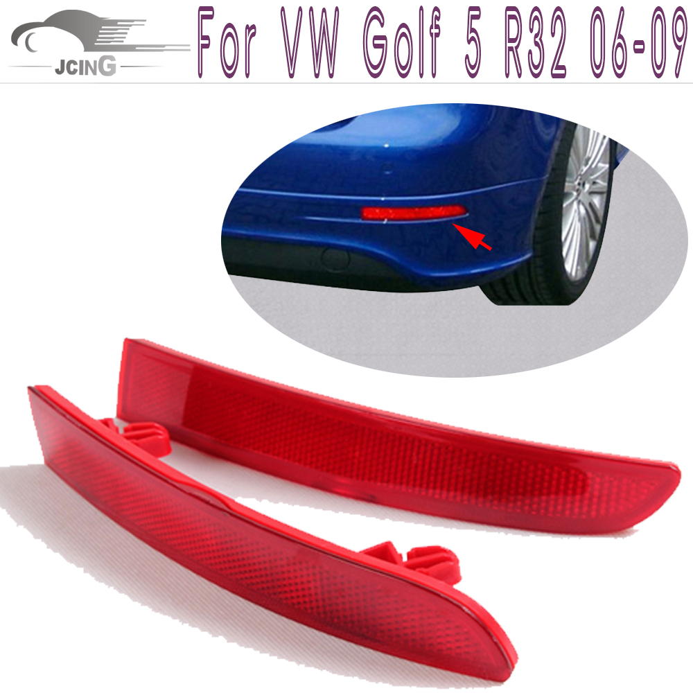 2PCS/Set ABS Rear Bumper Tail Red Reflectors Mask Covers for Volkswagen VW Golf 5 V MK5 R32 Only 2006-2009 golfliath black pp material rear bumper lip diffuser for volkswagen vw scirocco r 2009 2014 non standard dual exhaust one out