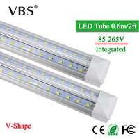 T8 Led Tube Light 20W Integrated Led Bulbs Tubes Lamp 220V 110V 2000lm V-Shape Led Fluorescent Tube Led Light For Home Lighting
