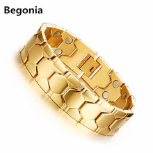18mm Width Fashion Stainless steel Magnetic bracelets mens Health Care Hand Chain