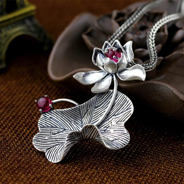 Silver  Zuyin jewelry retro matte  lady lotus  Pendant