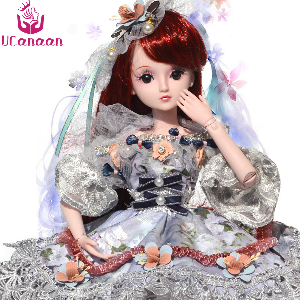 UCanaan 1/3 BJD Doll 19 Ball Jonited Dolls With All Outfit Shoes Wigs Dress Makeup Children DIY Dressup SD Kids Toys 1pcs bjd sd doll wigs accessories 15cm