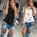 Fashion Hole Women Summer Tops Loose Tee Short Sleeve Girl T shirt Casual