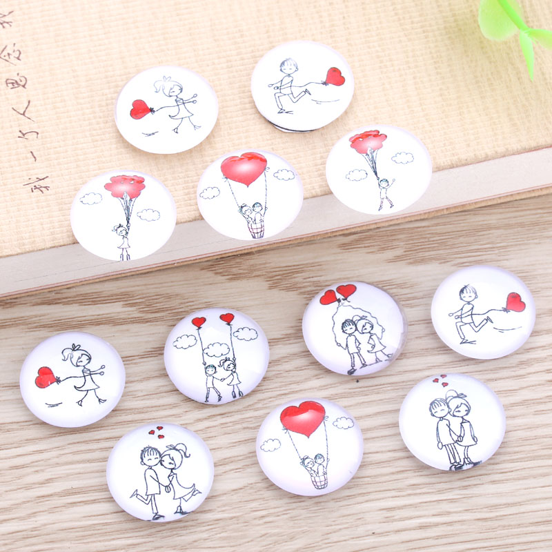 TYLFNL 50 pcs mix Beautiful love Pattern Round Glass Cabochon 16mm 18mm Dome Flat Back DIY Jewelry Finding S-010506