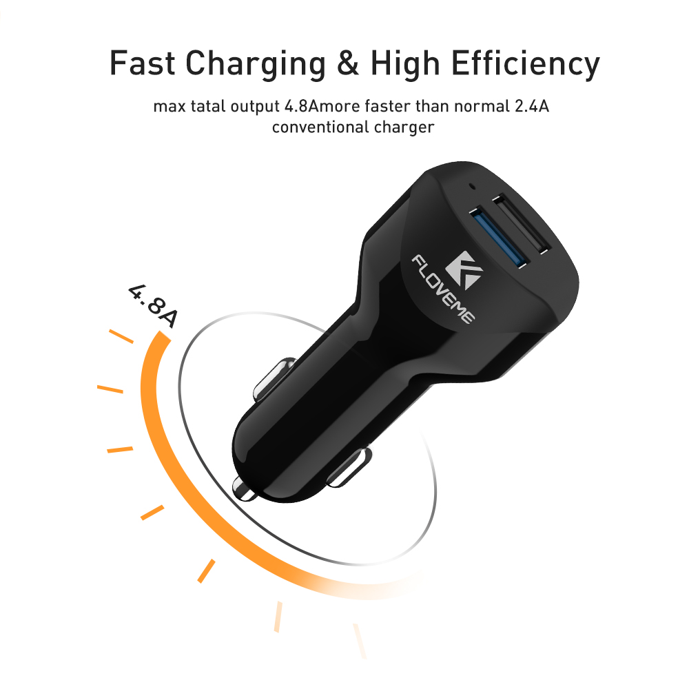FLOVEME Universal Dual USB Car Charger 5V/4.8A Car Lighter Travel Phone Adapter For iPhone X 7 8 USB Car-charger For Samsung S8