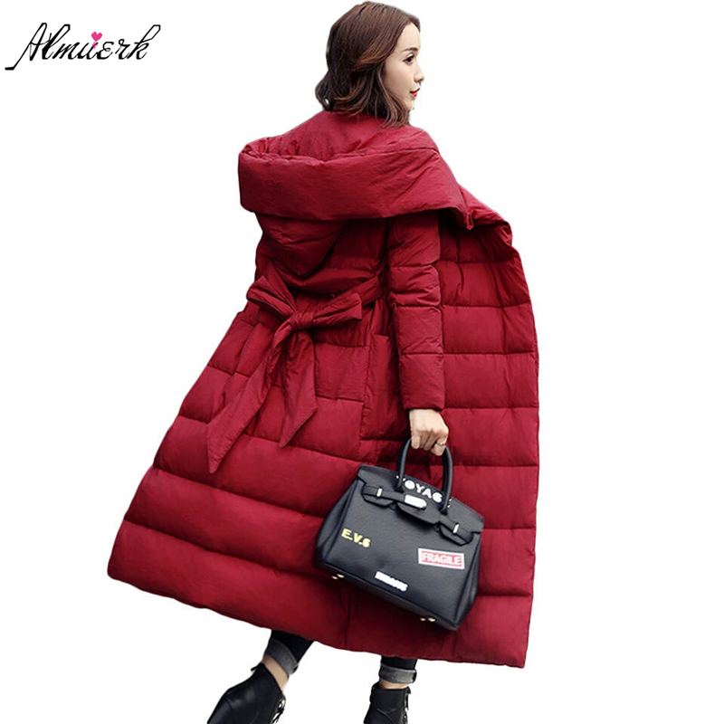 2018Plus Size Wowen winter jacket coat hooded belt parkas overcoat Long Quilted Coat Down Cotton Warm Puffer Solid Outwear YZ368 women s new winter quilted jacket chunky puffer coat full zip spliced sweater hood padded outwear with knit sleeve