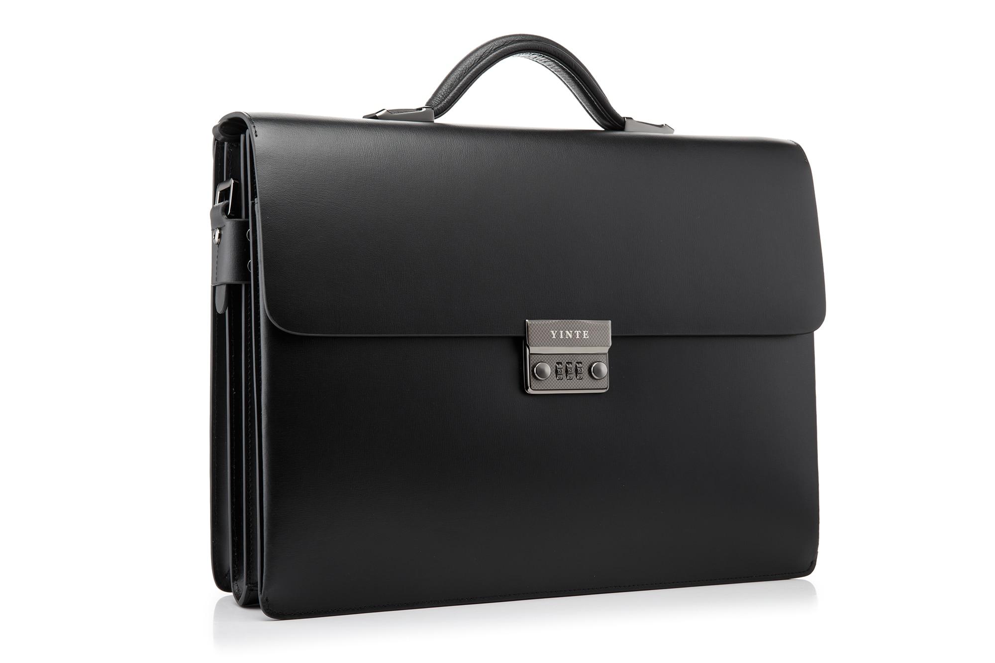 YINTE kožna crna torba muška aktovka velika i deblja torba torbica - Aktovke - Foto 2