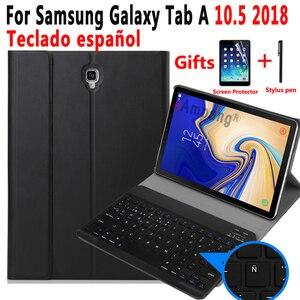 Image 1 - Spanisch Tastatur Fall Für Samsung Galaxy Tab EINE 10,5 2018 SM T590 SM T595 T590 T595 Tablet Dünne Leder Abdeckung Bluetooth Tastatur