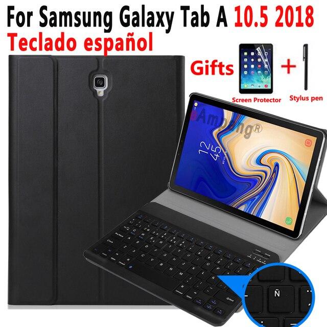 Spanisch Tastatur Fall Für Samsung Galaxy Tab EINE 10,5 2018 SM T590 SM T595 T590 T595 Tablet Dünne Leder Abdeckung Bluetooth Tastatur