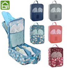 Flower Pattern Shoes Storage Bag Travel Vacation Slippers Mesh Organizer Pouch hold 3 Pair Shoes