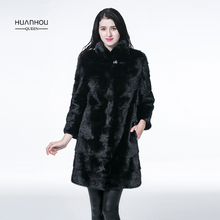 HUANHOU QUEEN new arrival real mink fur coat for women's ,90cm length with full sleeve and stand collar,warm slim.