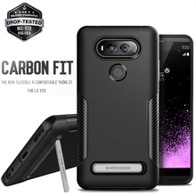 Original VERUS Rugged Armor Case for LG V20 Resilient Shock Absorption Carbon Fiber Design Flexible Cover Shell With Kickstand