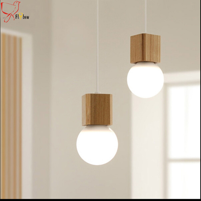Nordic Oak Wood Pendant Lamps Fixture 120cm Colorful Wire Square Wooden Chandelier Dining Room Bedroom