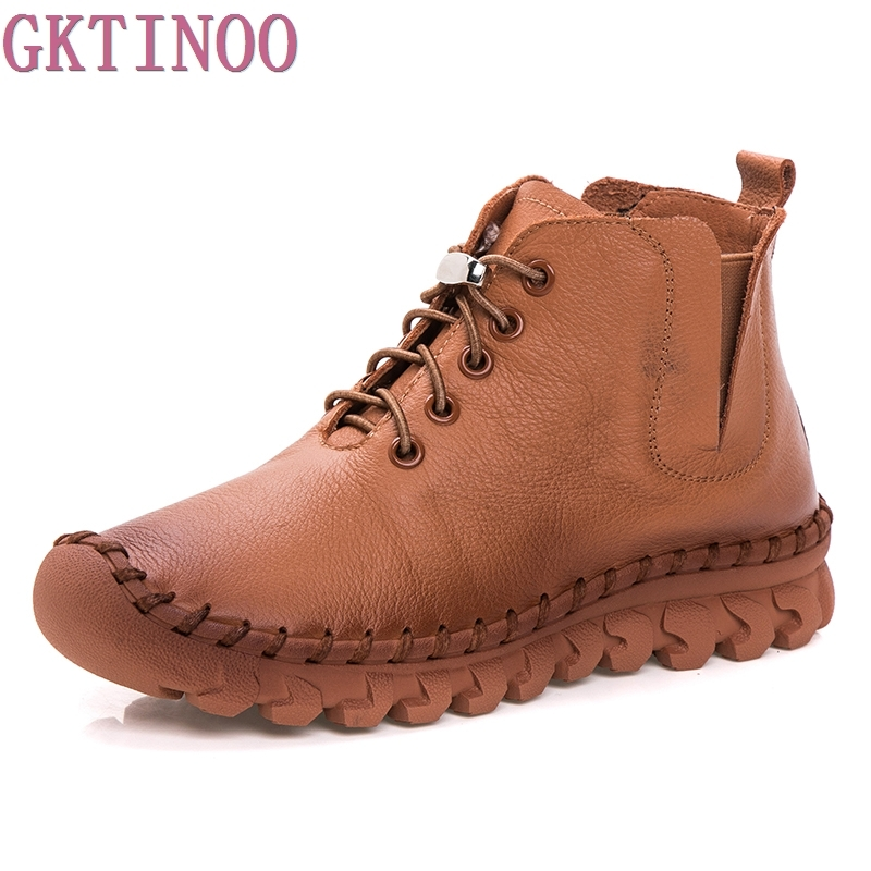 GKTINOO Autumn Winter Women Boots 2018 New Platform Shoes Woman Lace-up Ankle Boots Fashion Casual Genuine Leather Women Shoes 2017 new autumn winter shoes for women ankle boots genuine leather boots women martin boots lace up platform combat boots botas