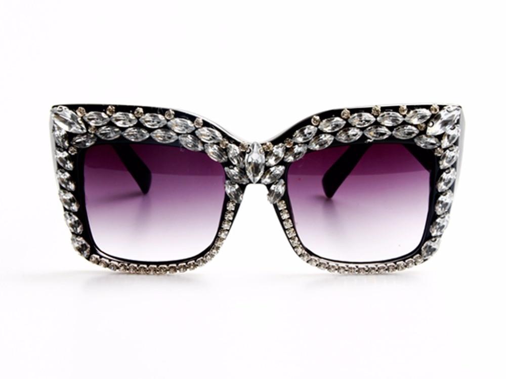 2017 Kvinnor Solglasögon Mode Bling Rhinestones Vintage Shades Ladies Oversize Men Solglasögon Brand Designer