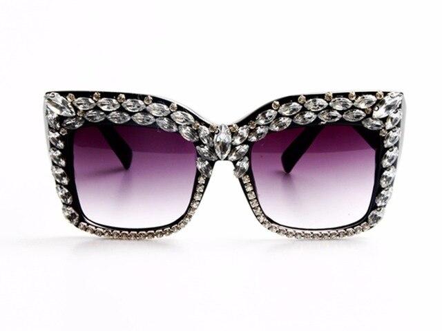 7967a9a6d6e 2017 Women Sunglasses Fashion Bling Rhinestones Vintage Shades Ladies  Oversize Men Sunglasses Brand Designer