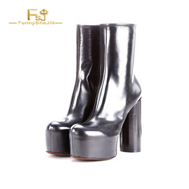 d857fe72b Woman Ankle Boots Shoes Silver Platform Boots Fashion Block Heel Ankle Boots  Patent Leather Party Plus