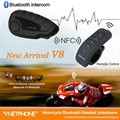 Nfc BT Interphone Bluetooth Motocicleta Intercomunicador 1200 M Intercomunicador Del Casco Auricular Bluetooth Headset para 5 Pilotos