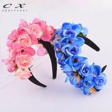 CXADDITIONS WomenS Headband Bohemian Butterfly Orchid Rose Floral Flower Crown Wedding HairBands Headwear Hair Accessories