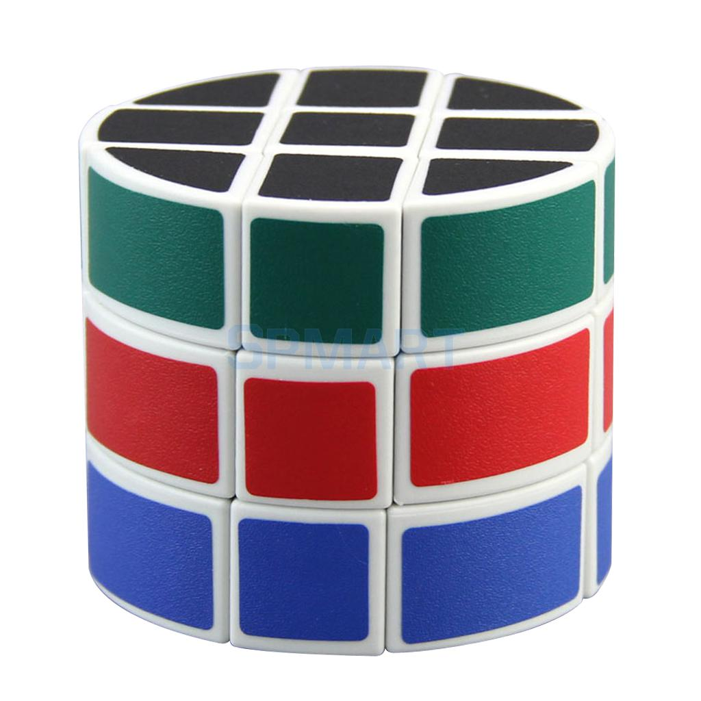 3x3x3 White Cylindrical Magic Cube Smooth Speed Cube Twist Puzzle Brain Teaser Toys for Kids Adults