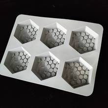 Silicone molds cake chocolate making tools honey honeycomb bee 6 hole DIY handmade soap mold bath mould aroma stone