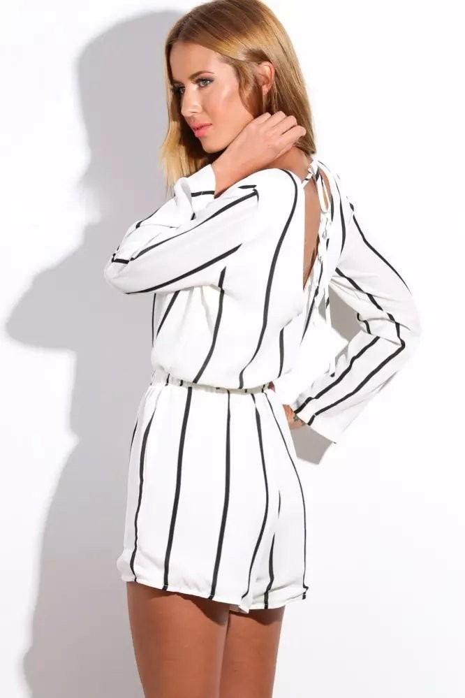 Long Sleeve Stripes Cut Out Back Shorts Jumpsuit 2