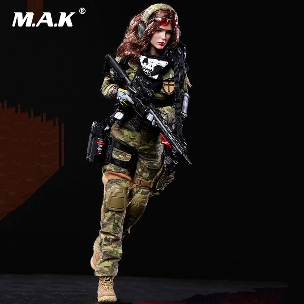 1 6 Collectible Full Set FS 73015 Female Camouflage Hunter Shooter MC War Angela Soldier Action