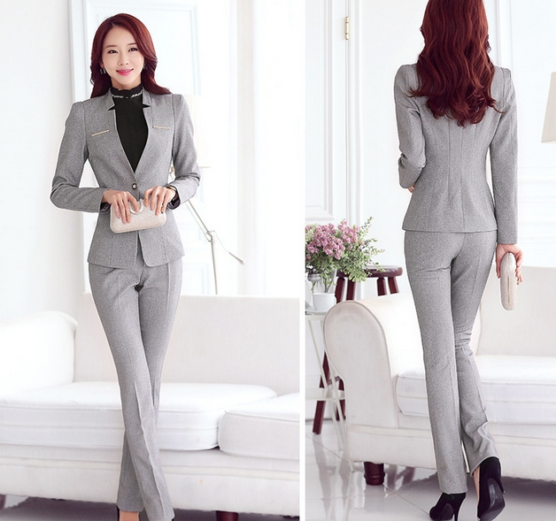 New Formal Women Suit With Skirt Pant Shirt For Office Ladies Business Suit Red Black Gray ...