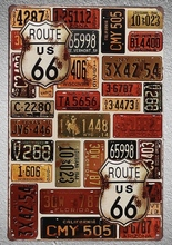 1 pc Route 66 US CAR License American USA Tin Plate Sign wall man cave Decoration Art Poster metal vintage home