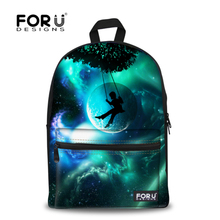 Forudesign marca 3d galaxy espacio de impresión mochila de escuela para niñas adolescente mochila niños niños mujeres mochila de viaje ocasional