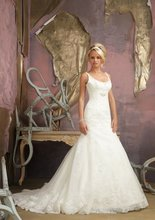 $10 off per $100 order A-283 Mermaid Scoop Neckline Tulle Zipper Lace Bridal Wedding Dress Designer