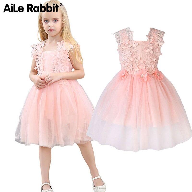 купить AiLe Rabbit Girls Lace Dresses Flower Gauze Princess Ponce Wedding Dress Party Dress Fashion Children's Clothing Apparel k1 по цене 543.3 рублей