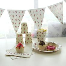 Tableware Set Milky-white Round Dotted Rose Floral Paper Plates Cups Birthday Wedding Party Disposable Tableware