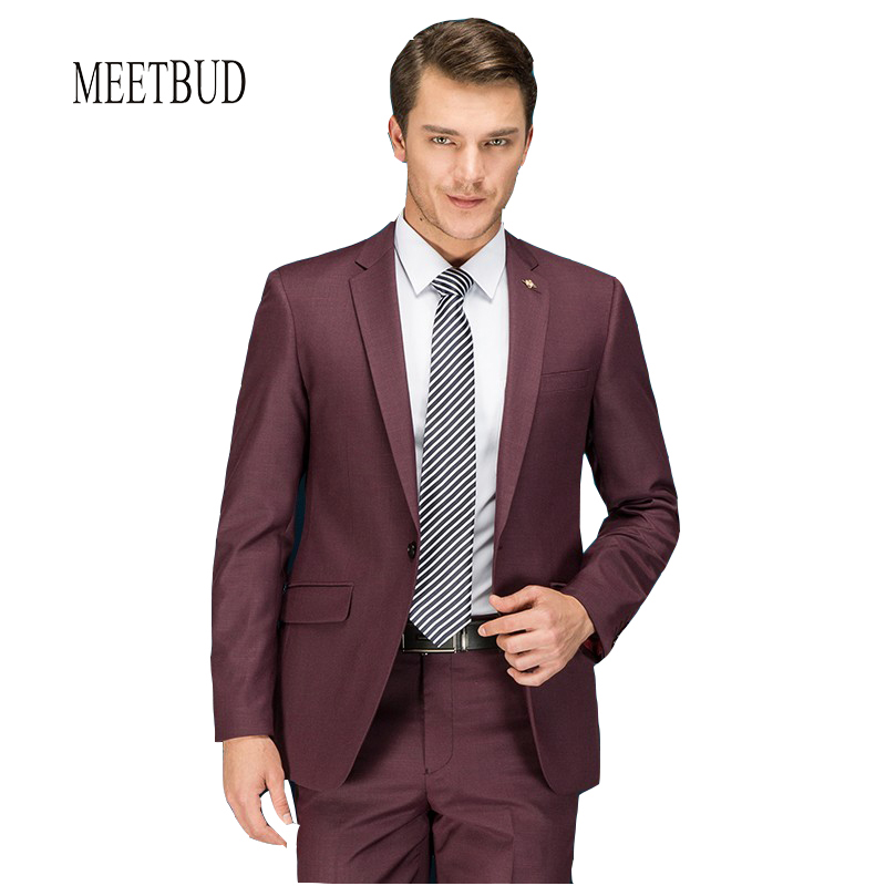 meetbud new brand fashion men suit wedding slim fit