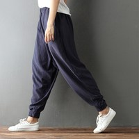 Women Harem Pants 2017 Elegant Casual Loose High Waist Full Length Cotton Linen Bottoms Female Solid Vintage Pockets Trousers
