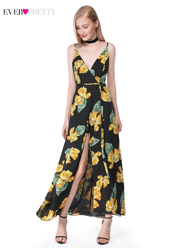 Floral Print Long   Prom     Dresses   2019 Ever Pretty AS07051BK V-Neck Spaghetti Straps High Split Sexy Summer Evening Party   Dresses