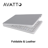 AVATTO A17 Portable Leather Case Bluetooth Wireless Tablet Folding Keyboard Gaming Foldable Keyboard For IPad