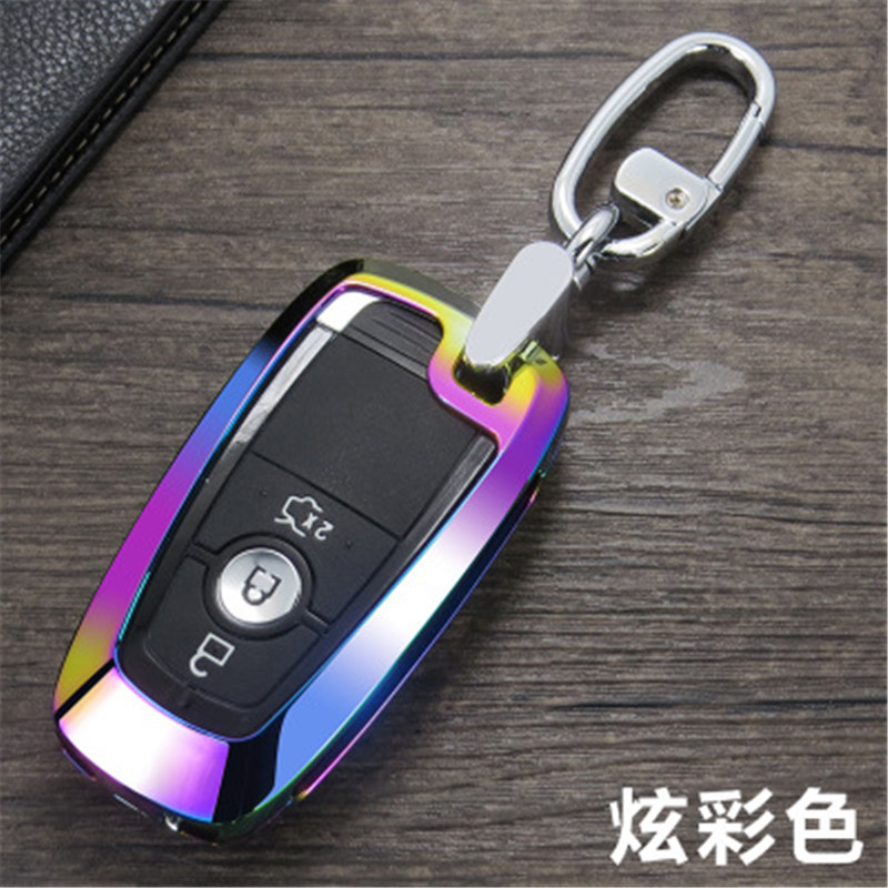 Alloy leather Car Remote Key Case Cover For Ford Mustang Mondeo Fusion 2017 2018 MKC MKX MKZ Lincoln Edga Expedition