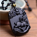 Natural Black Obsidian Pendant Carved Chinese Zodiac Sheep Pendant Bead Necklace Lucky Amulet Men Women's Fashion Jade Jewelry
