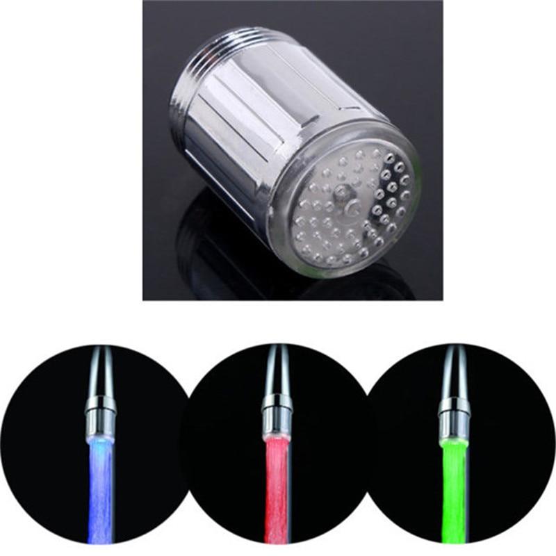 70 шт./лот Температура датчик 3 вида цветов поток воды светодиодные кран оптовая продажа с адаптерами с блистерной упаковке