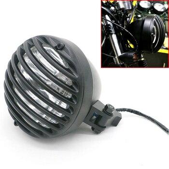 Black Aluminum Bullet Style Motorcycle Headlights Old School Head Light Lamp Lighting For Harley Bobber Chopper Custom Bikes