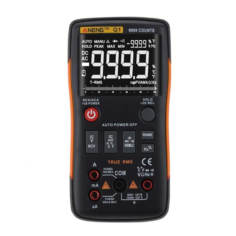 ANENG Q1 Trms Multimètre Numérique Auto Bouton 9999 Compte Graphique à Barres Analogique AC/DC Tension Ampèremètre Actuel ohm Transistor Teste