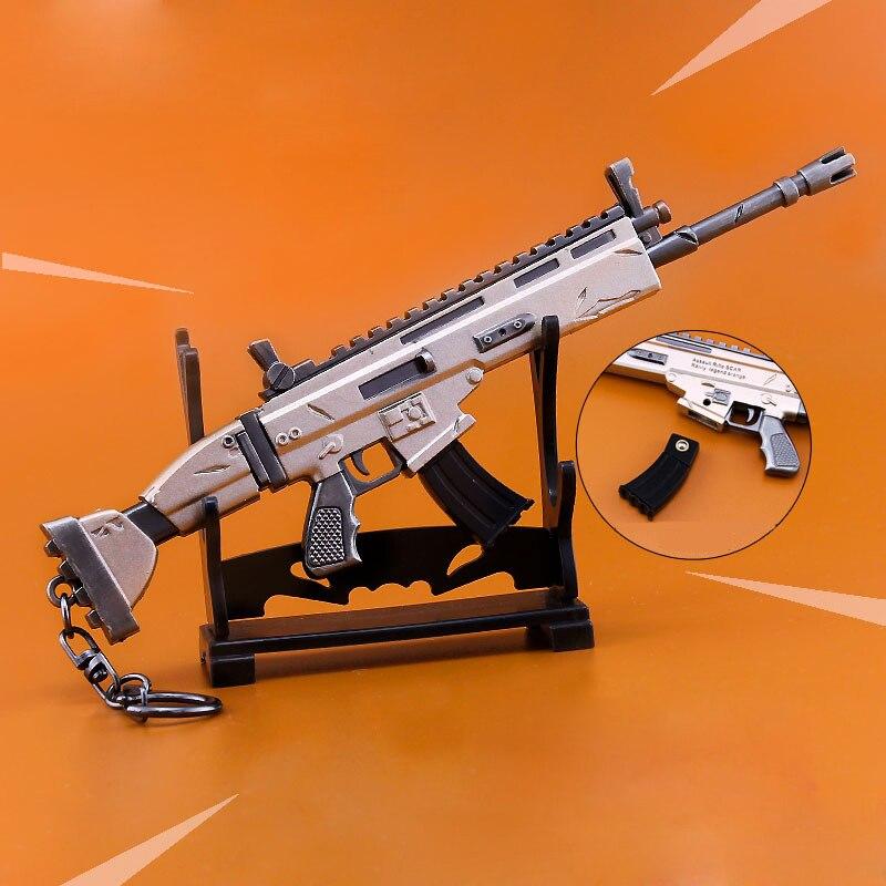 Dos semanas noche cicatriz Rifle modelo llavero aleación armas niños juguete colección decoración regalos