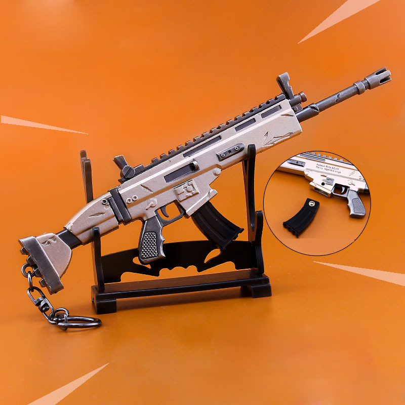 Fortnight Night FORTNITE SCAR Rifle Toy Model Keychain Alloy Weapons Kids Toy Collection Decoration assault rifle style zinc alloy gun keychain toy silvery black