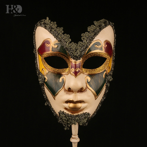 Image 3 - H&D 6 Kinds Venetian Mask On Stick Mardi Gras Mask for Women/Men Masquerade Party Prom Ball Halloween Party Cosplay Favors