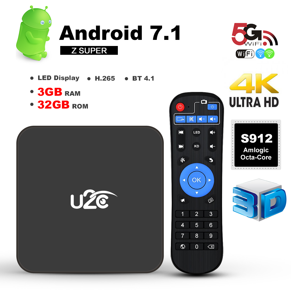 U2C Z SUPER Smart TV Box Android 7.1 S912 Octa-Core 3GB / 32GB H.265 UHD 4K Mini PC WiFi 1000M LAN Bluetooth 4.1 HD Media Player 3gb 32gb android 7 1 smart tv box csa93 amlogic s912 octa core wifi bt4 0 4k 1000m lan streaming smart media player i8 keyboard
