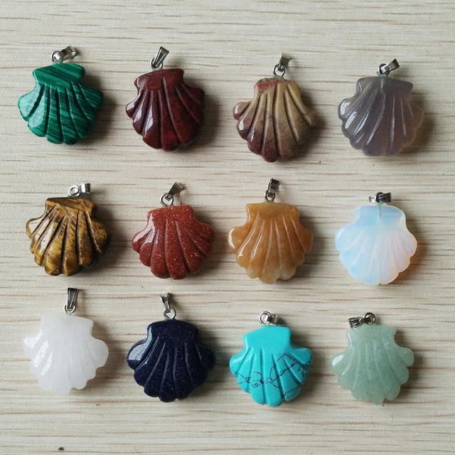 2019 new fashion assorted natural stone carved flower charms pendants for jewelry marking 12pcs/lot Wholesale  free shipping