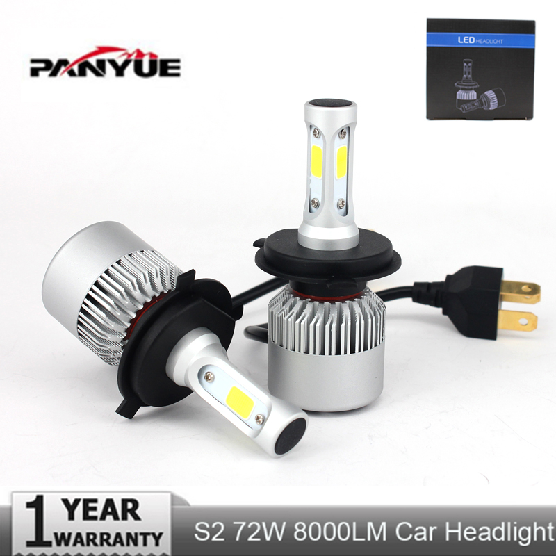 PANYUE S2 Auto Car H4 H7 LED Headlights 6500K 8000LM 12V COB Bulbs Hi Lo beam 2 / 3 Diodes White Automobiles Near Far Light