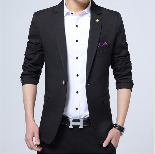 48f27df2dd4f1 Men Casual Blazer Slim Fit Jacket Suit Hombre Spring Autumn Business  Wedding Blazer Male Man Black Blue Khaki Pink Beige-in Blazers from Men s  Clothing on ...