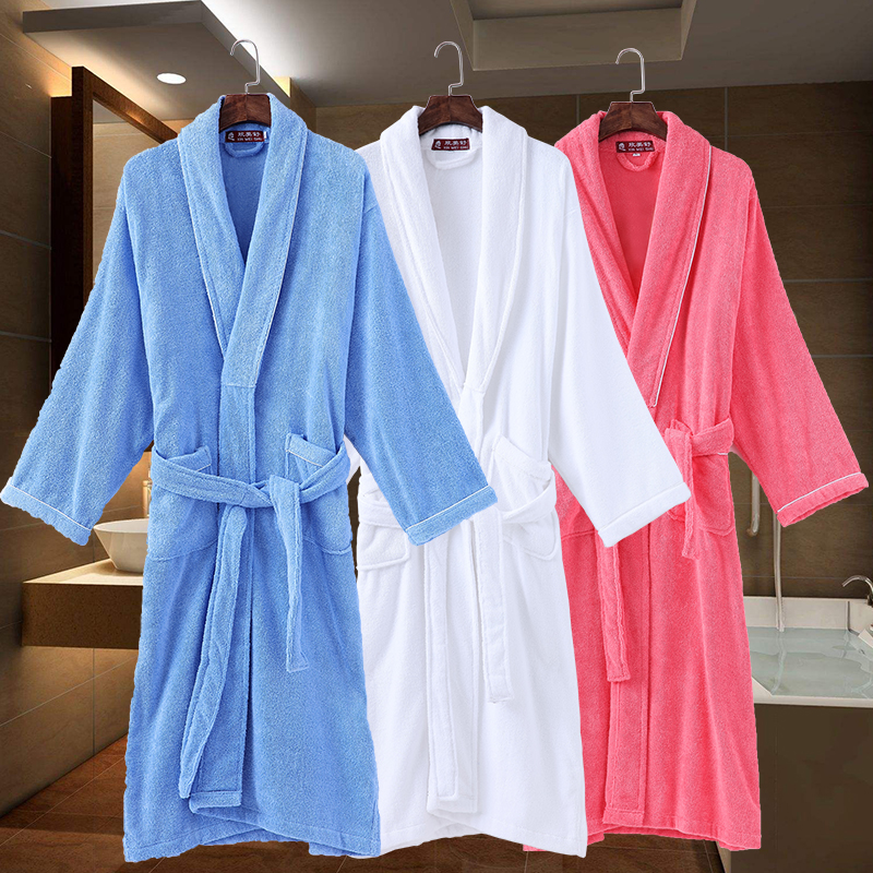 Women bathrobe cotton towel fleece Sleepwear Long thick robe hotel spa long nightgown Female Pajamas kimono robes thick winter