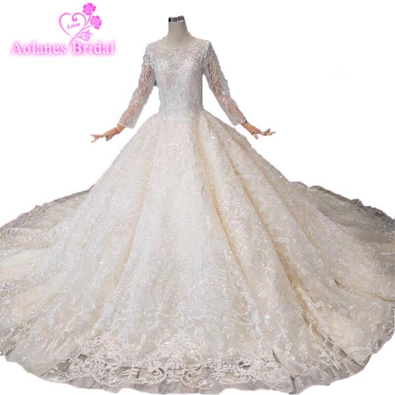 Dubai Design White Luxury Vintage Wedding Dresse2019 Sequins Long Sleeves Handmade Lace Bridal Gown Real Photo Factory Wholesale